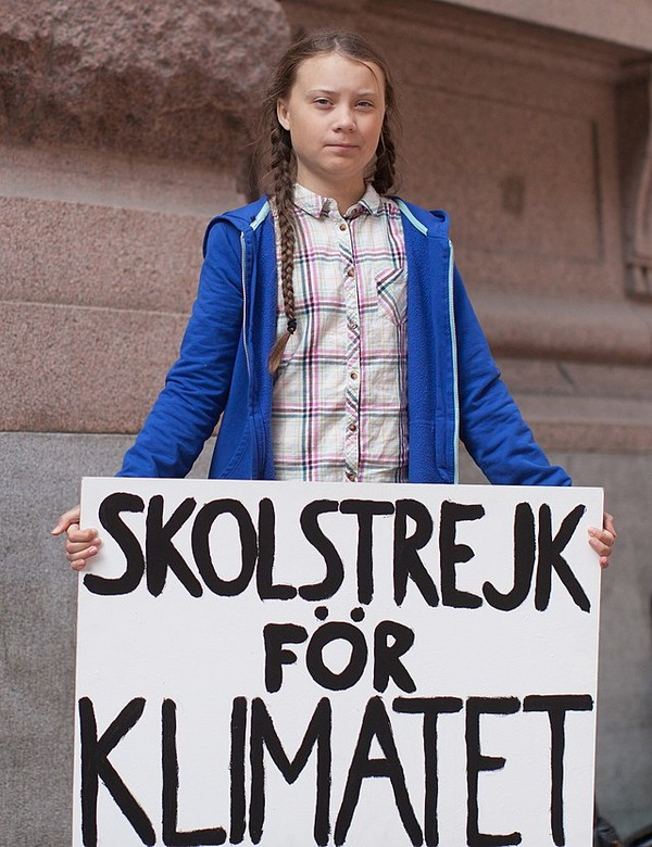 Greta Thunberg protesting outside the Riksdag government building in Sweden